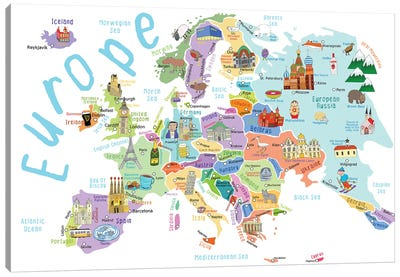 Illustrated Countries of Europe Canvas Art Print
