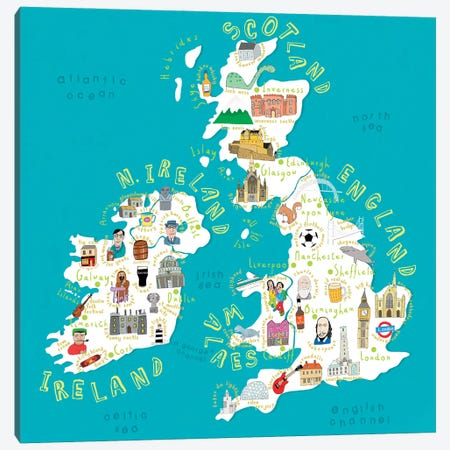 Illustrated Countries UK + Ireland Canvas Print #CAY16} by Carla Daly Canvas Art Print