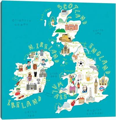 Illustrated Countries UK + Ireland Canvas Art Print