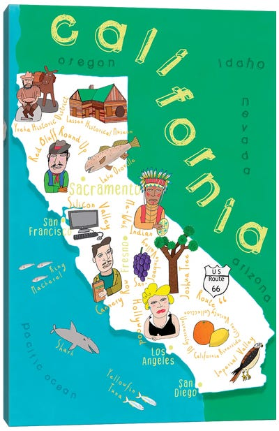 Illustrated State Maps California Canvas Art Print