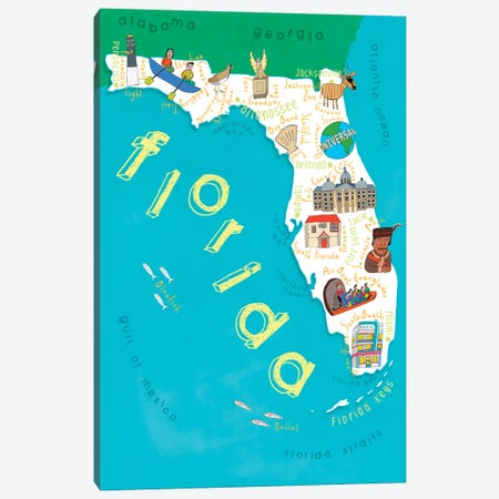 Illustrated State Maps Florida Canvas Print #CAY18} by Carla Daly Canvas Artwork
