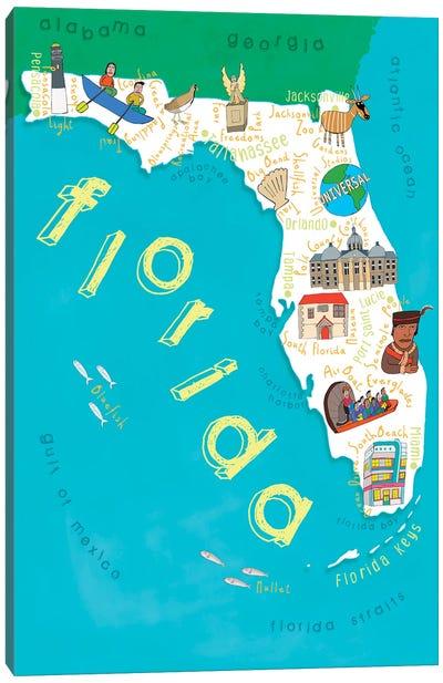 Illustrated State Maps Florida Canvas Art Print