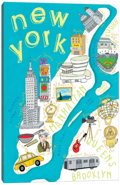 Illustrated State Maps New York Canvas Art Print