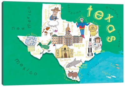 Illustrated State Maps Texas Canvas Art Print