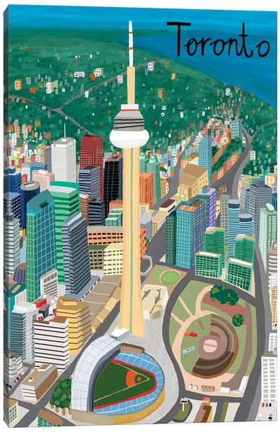 View from Above Toronto Canvas Art Print
