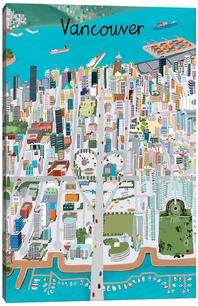 View from Above Vancouver Canvas Art Print