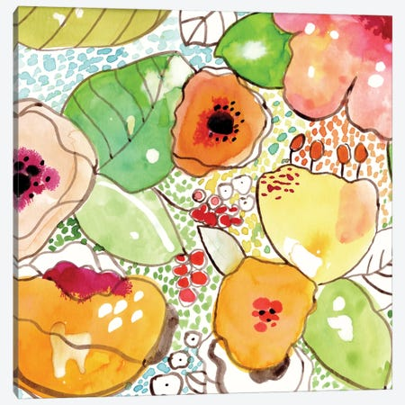 Mosaic Flowers Canvas Print #CBA1} by Cayena Blanca Canvas Wall Art