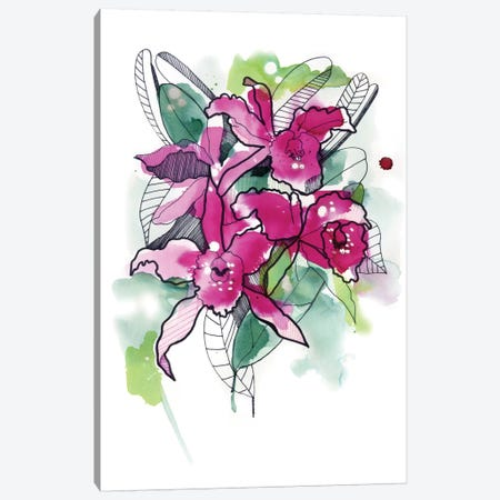 Magenta Orchids Canvas Print #CBA34} by Cayena Blanca Canvas Print