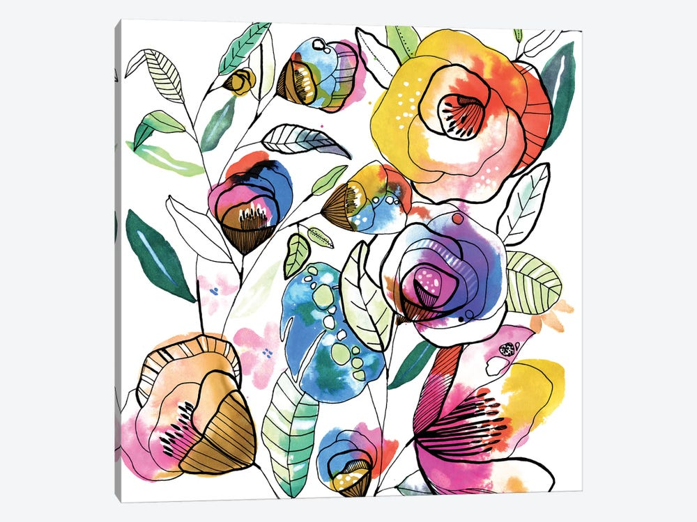 Coloured Flowers by Cayena Blanca 1-piece Canvas Print