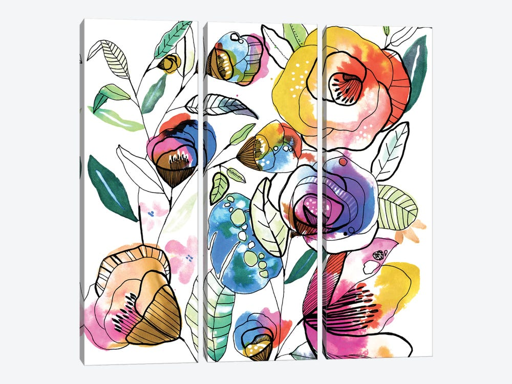 Coloured Flowers by Cayena Blanca 3-piece Art Print