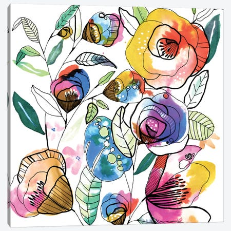 Coloured Flowers Canvas Print #CBA38} by Cayena Blanca Canvas Wall Art