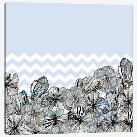 Chevron Flowers Canvas Print #CBA48} by Cayena Blanca Canvas Art Print