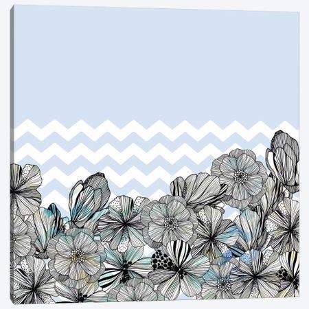 Chevron Flowers 3-Piece Canvas #CBA48} by Cayena Blanca Canvas Art Print