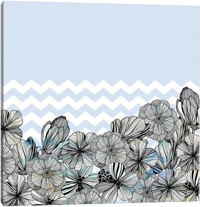 Chevron Flowers Canvas Art Print