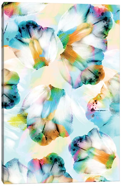Psycho Orchids Cyan Canvas Art Print