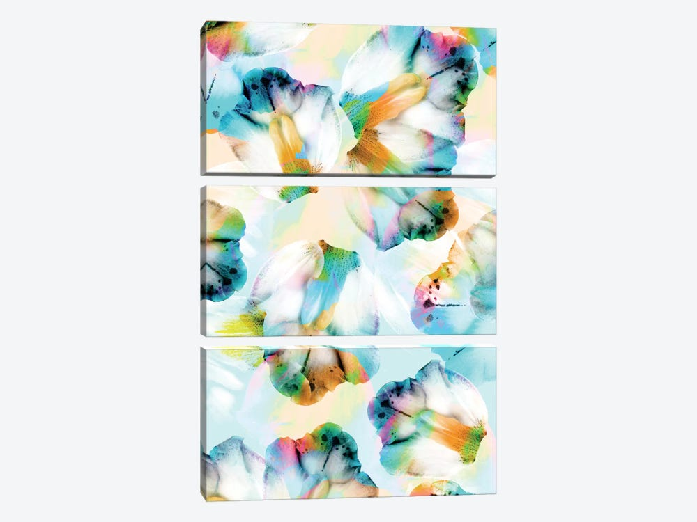 Psycho Orchids Cyan by Cayena Blanca 3-piece Canvas Print