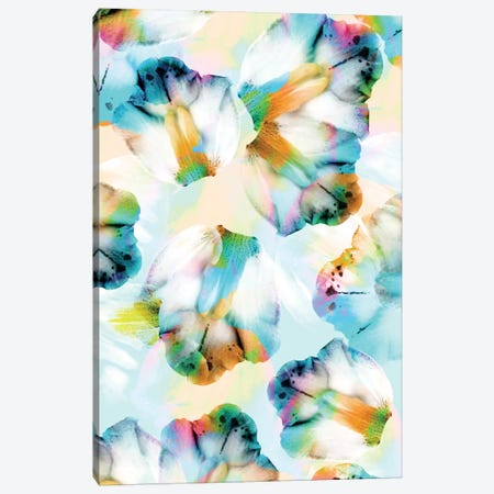 Psycho Orchids Cyan Canvas Print #CBA8} by Cayena Blanca Canvas Art