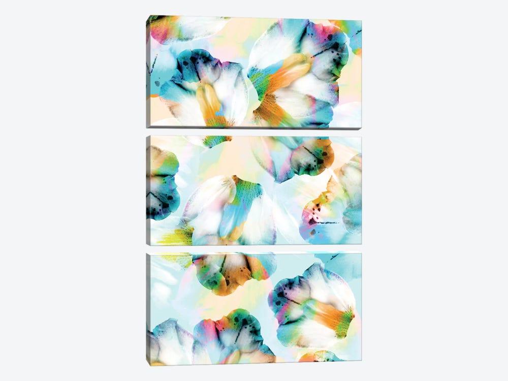 Psycho Orchids Cyan by Cayena Blanca 3-piece Canvas Print