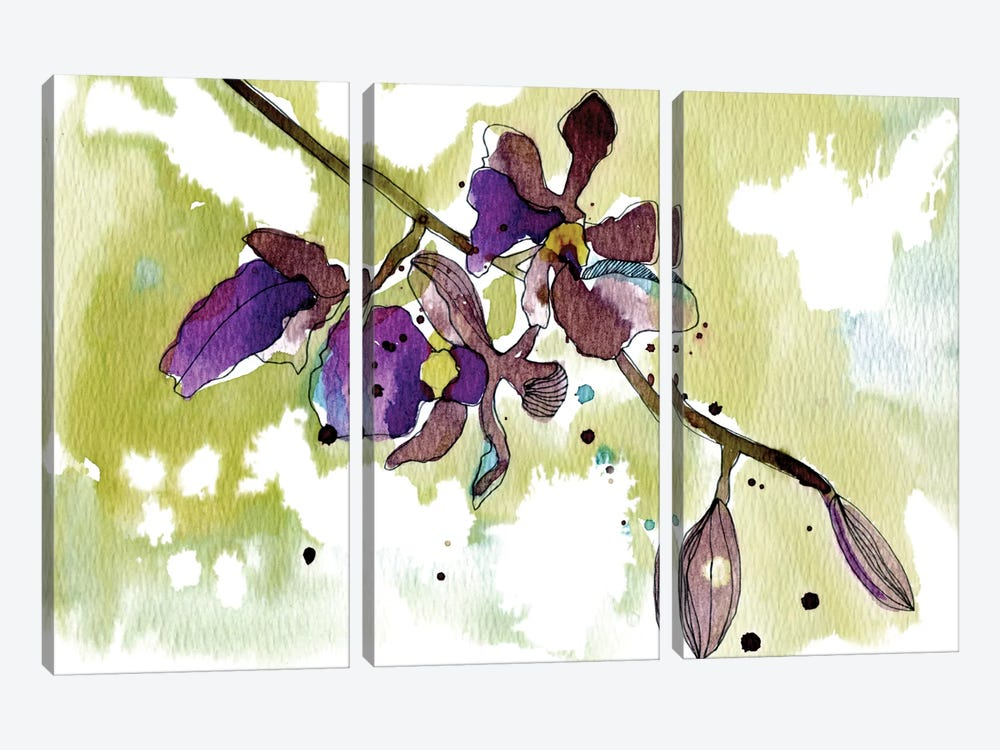Purple Orchids by Cayena Blanca 3-piece Canvas Artwork