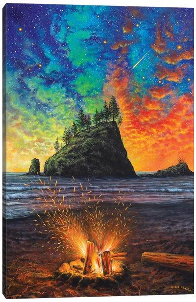 Throw The Log in Canvas Art Print