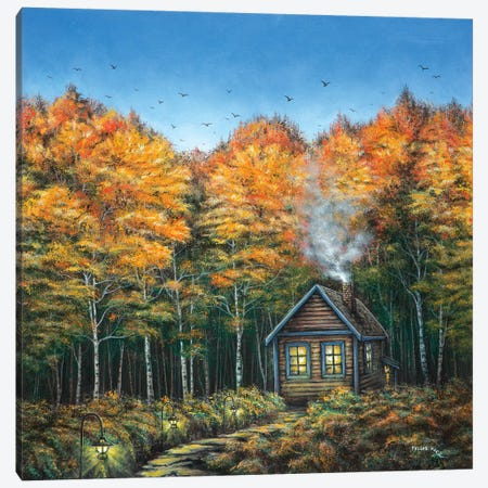 Fall Cabin Canvas Print #CBF4} by ColorByFeliks Canvas Wall Art