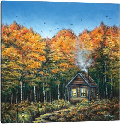 Fall Cabin Canvas Art Print