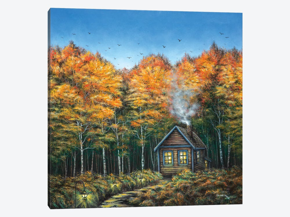 Fall Cabin by ColorByFeliks 1-piece Canvas Art