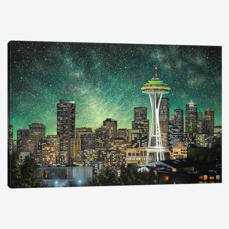 Green Seattle Canvas Print #CBF6} by ColorByFeliks Canvas Wall Art