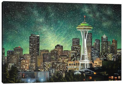 Green Seattle Canvas Art Print