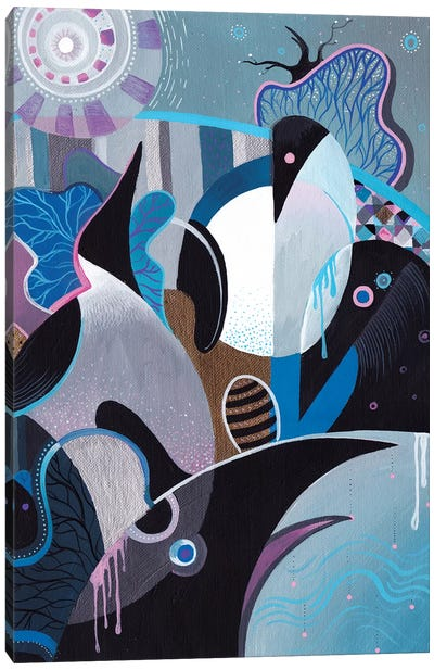 Penguin Flowering Canvas Art Print