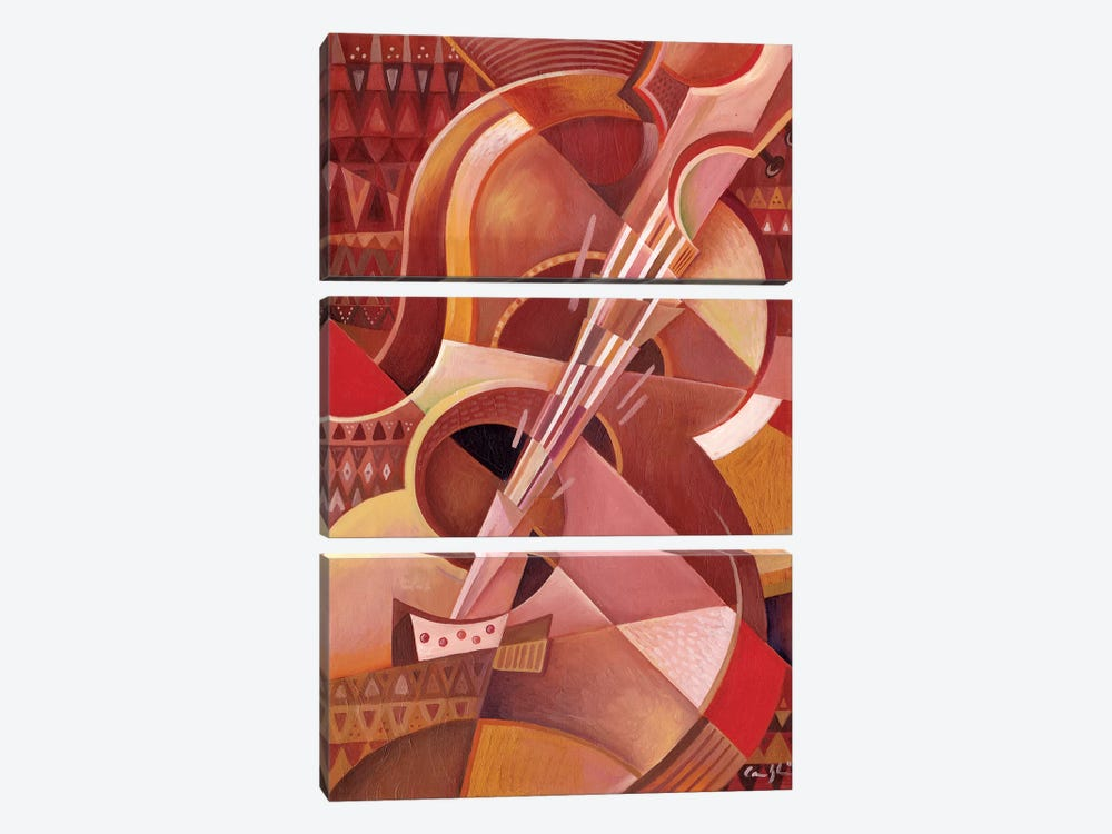 Red Guitar by Martin Cambriglia 3-piece Canvas Art Print