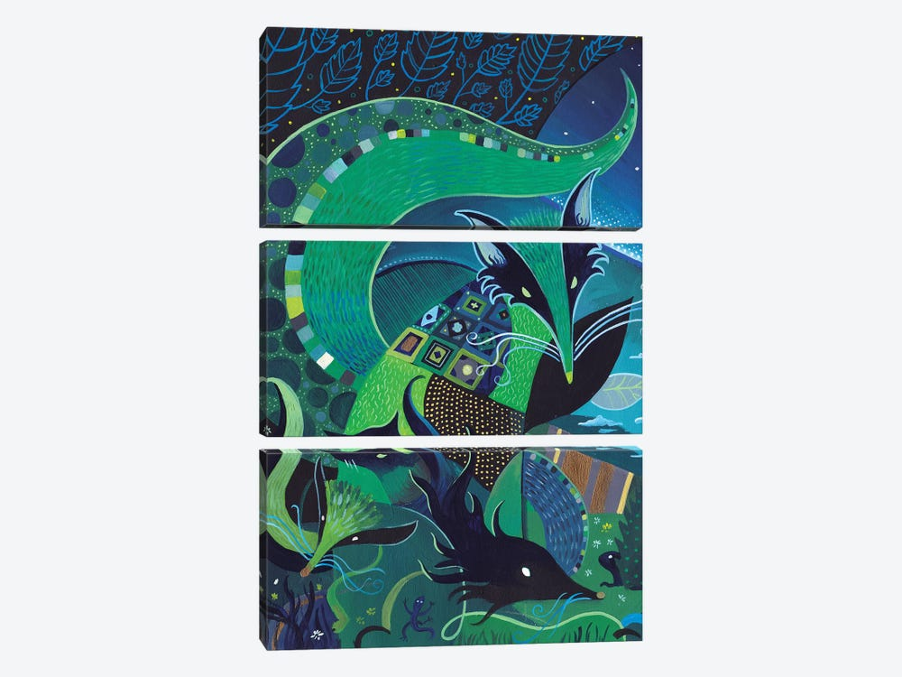 The Forest Of Mint Foxes by Martin Cambriglia 3-piece Canvas Print