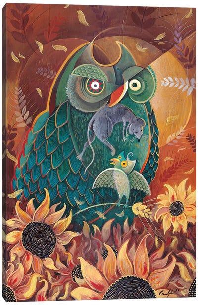 Breakfast Among Sunflowers Canvas Art Print