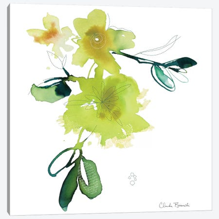 Yellow Botanical Canvas Print #CBI86} by Claudia Bianchi Canvas Wall Art