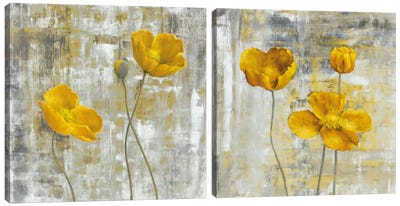 Yellow Flowers Diptych Canvas Art Print