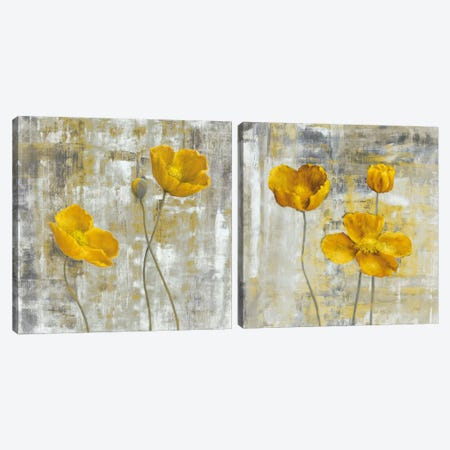 Yellow Flowers Diptych Canvas Print Set #CBL2HSET002} by Carol Black Canvas Art Print