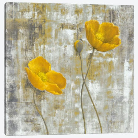 Yellow Flowers I Canvas Print #CBL6} by Carol Black Canvas Artwork