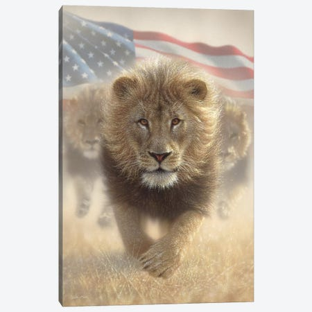 Running Lions - America Canvas Print #CBO111} by Collin Bogle Canvas Art Print