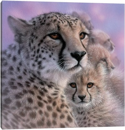 Cheetah Mother's Love Canvas Art Print