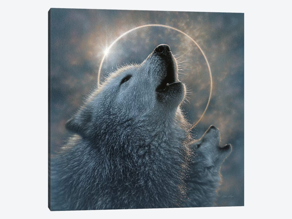 Wolf Eclipse, Square 1-piece Canvas Art Print