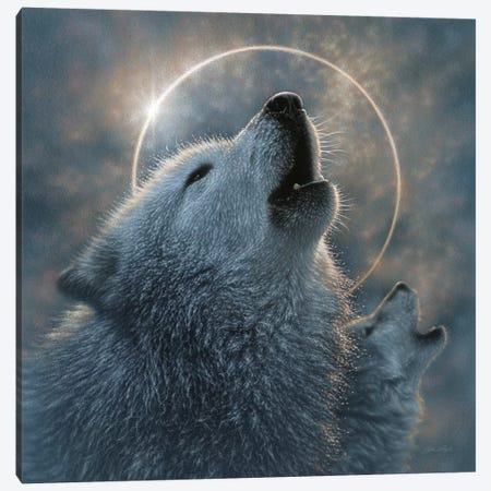 Wolf Eclipse, Square Canvas Print #CBO135} by Collin Bogle Canvas Artwork