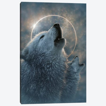 Wolf Eclipse, Vertical Canvas Print #CBO136} by Collin Bogle Canvas Artwork