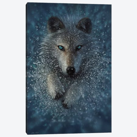 Running Wolf Splash - Vertical Canvas Print #CBO143} by Collin Bogle Canvas Art