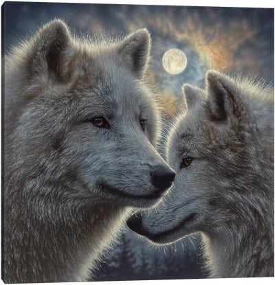Moonlight Wolf Mates Canvas Art Print