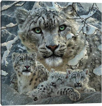 Snow Leopard Collage Canvas Art Print