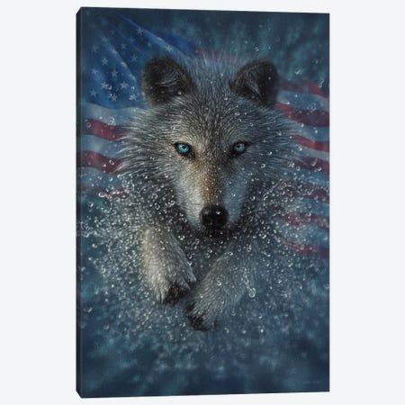 Wolf Splash America Canvas Print #CBO163} by Collin Bogle Canvas Artwork
