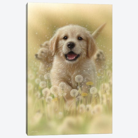 Dandelions - Golden Retriever, Vertical Canvas Print #CBO21} by Collin Bogle Canvas Print