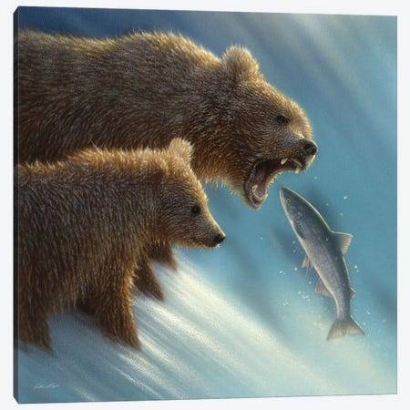 Brown Bear Fishing Lesson, Square Canvas Print #CBO27} by Collin Bogle Canvas Artwork