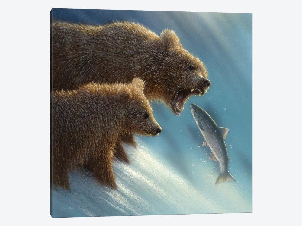 Brown Bear Fishing Lesson, Square by Collin Bogle 1-piece Canvas Artwork