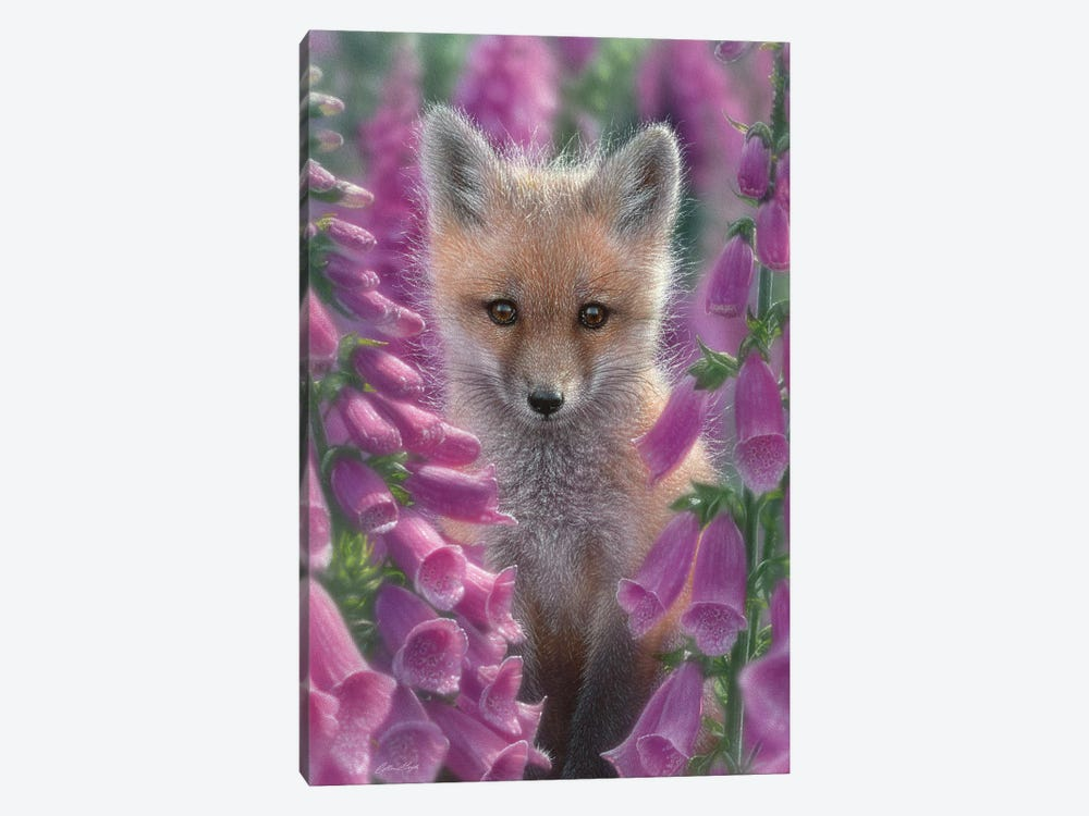 Foxgloves - Red Fox, Vertical 1-piece Art Print